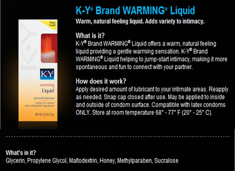 Ky jelly warming liquid